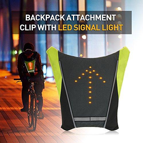 Explopur Clip de Fixation pour Sac à Dos USB Rechargeable réfléchissant avec télécommande Signal Lumineux à LED Sac de Sport de Plein air