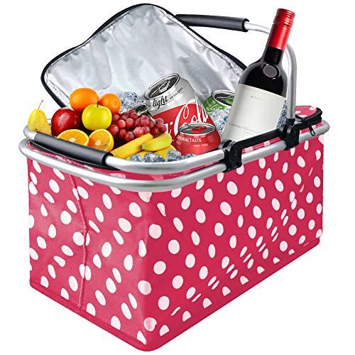 Vkaiy 30L Faltbare Picknicktasche Kühltasche Thermotasche Isolierte Picknick Tasche, Rose