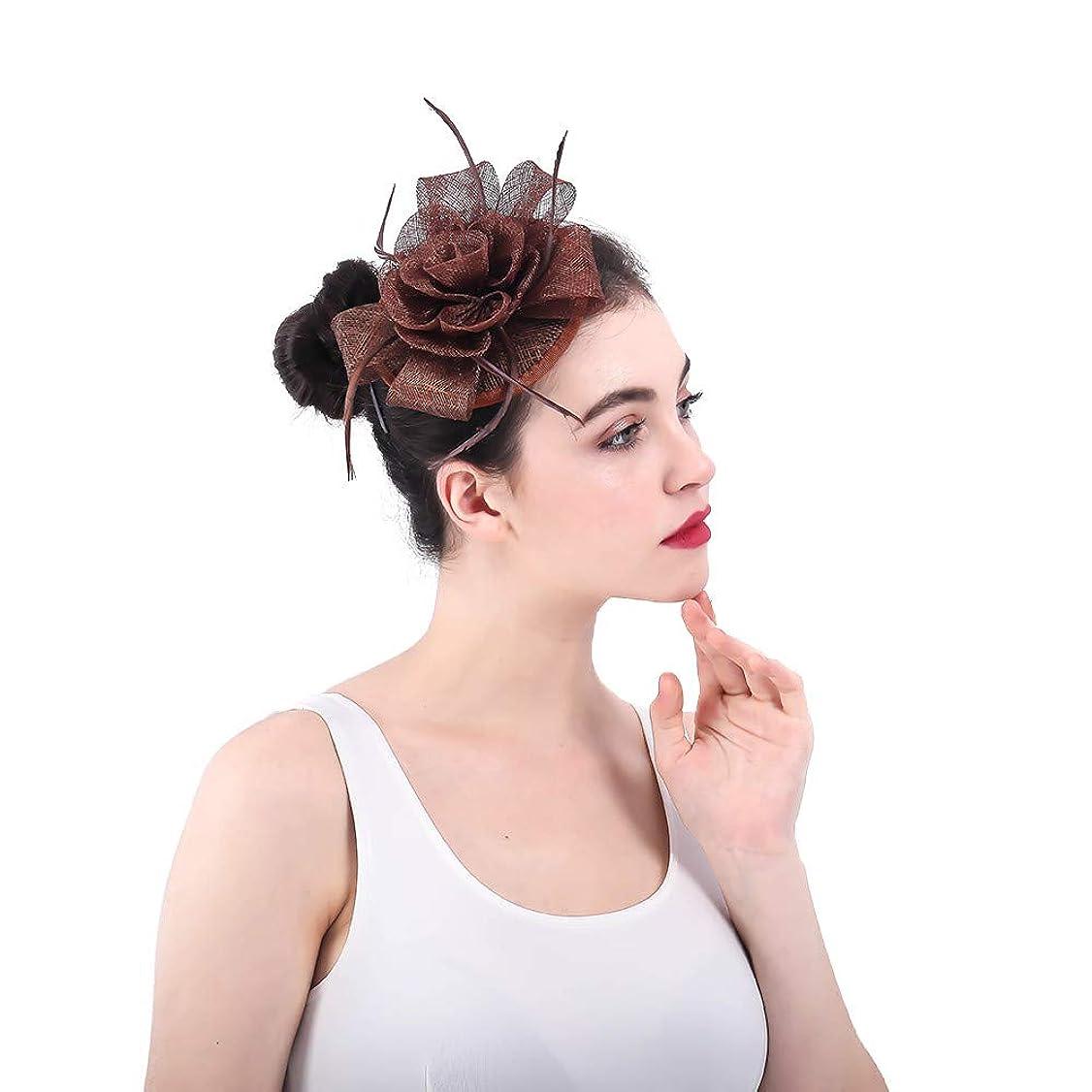 並外れたどちらか強大な女性の魅力的な帽子 女性のエレガントな花の羽の魅惑的な帽子の結婚式の帽子ヘアクリップアクセサリー女性の日レースロイヤルアスコット