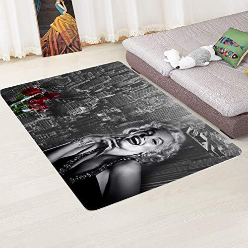 Alfombra Suave, Moderno Estilo Decoración Alfombras, Niños Gateando Manta, Arte De Impresión 3D Sonriendo Marilyn Monroe, 140(H)X200(W)Cm Moqueta Para Dormitorio Y Salón O Habitación Infantil