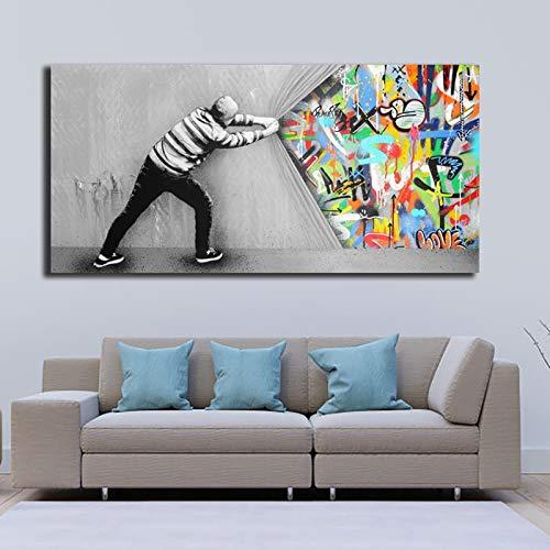 Geiqianjiumai olieverfvertraging tussenwandposter van de graffitikunst creatief en frameloos schilderwerk van grafische druk-slaapkamerdecoratie
