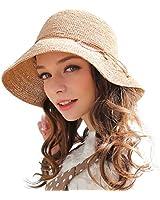 RIONA Women's Summer Hand-Woven Foldable Wide Brim Fisherman 100% Raffia Straw Sun Hat(Beige)