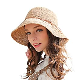 RIONA Chapeau Paille Femme Été Anti UV Plage Casquette Soleil Bucket Hat Pliable pour Voyage, Peche, Randonnée