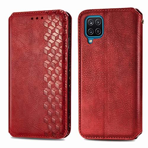 Trugox Funda Cartera para Samsung A12 de Piel con Tapa Tarjetero Soporte Plegable Antigolpes Cover Case Carcasa Cuero para Samsung Galaxy A12 - TRSDA120796 Rojo