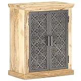 FAMIROSA Aparador con Puertas de Acero Madera Mango Macizo 60x35x75 cm