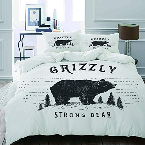MIGAGA bedding - Duvet Cover Set, Strong Grizzly Bear in The Forest Vintage Grunge Look Life in The Mountains Theme,Microfibre Duvet Cover Set200 x 200cmwith 2 Pillowcase 50 X 75cm