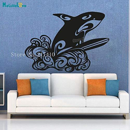 Tianpengyuanshuai Arte Animal Pared calcomanía Ballena Surf Papel Pegatina decoración de habitación Vinilo Autoadhesivo Mural 57x80cm