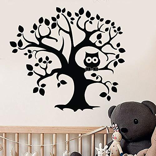 Árbol tatuajes de pared dibujos animados búho puerta ventana pegatinas de vinilo jardín de infantes dormitorio de los niños habitación de bebé decoración de interiores regalo de los niños papel tapiz