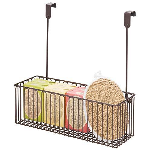 mDesign Estante colgante para utensilios de baño – Prácticas repisas para baño de metal para guardar champú, gel, etc. – Cesta...