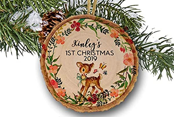 Baby Deer Ornament First Christmas Ornament Baby Girl Ornament Fawn Deer Personalized Christmas Ornament Baby Gift Wooden Ornament