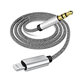 [Apple MFi Certified] Lightning to 3.5mm AUX Stereo Audio Cable, Nylon iPhone Aux Cord Adapter for Car Compatible with iPhone 11/XS/XR/X/8/7/6/5, iPad, iPod to Speaker/Home Stereo/Headphone(3.3FT/1M)