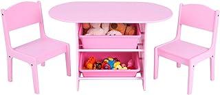 comprar comparacion COSTWAY Juego de Mesa y 2 Sillas para Niña Infantil Mueble con Estantería para Juguetes Organizador