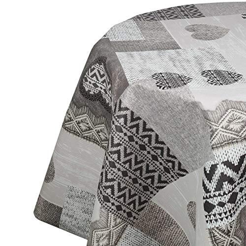 DecoHomeTextil Wachstuchtischdecke Wachstuch Tischdecke Gartentischdecke Rund Oval Robust Herzen Grau Rund 80 cm abwaschbare Wachstischdecke