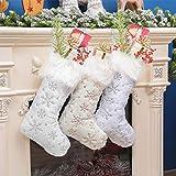 Chanhan - Medias navideñas tradicionales de piel sintética de color blanco, 50 cm de lujo, para colgar, personalizables, con copo de nieve de plata, para decoración de chimenea, calcetines