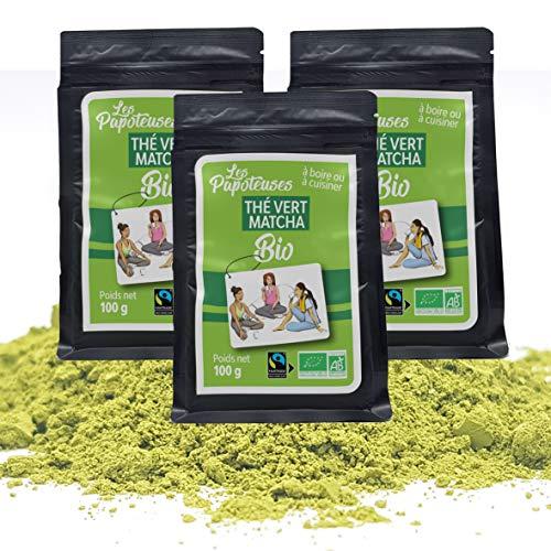 Les Papoteuses | Lote de 3 Tè verde biologico Matcha in polvere 100g | 300G | certificado organico y comercio equitable | té verde de Japon en polvo cultivado en China