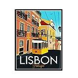 Yoopa Lienzo de Lisboa, carteles e impresiones, arte de pared para la decoración del hogar de la sala de estar, 50X70 CM, sin marco, 1 Uds.