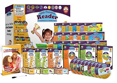 Early Reading Program for Baby, Toddler, Preschool, Kindergarten- Alphabet, Vowel Phonics & 200+ Sight Words - Little Champion Reader 9 DVD, Flash Card, Book Kit