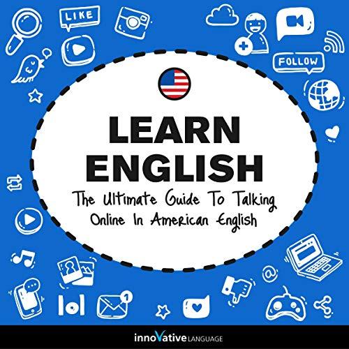 Diseño de la portada del título Learn English: The Ultimate Guide to Talking Online in American English
