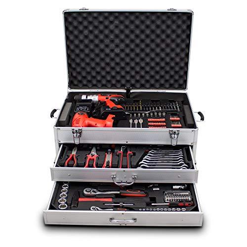 BITUXX® 206 tlg Werkzeugkiste komplett Werkzeugkoffer bestückt Werkzeugkasten gefüllt Schubladen inklusive Akkuschrauber Ratschenringschlüssel Ratschenkasten Knarrenkasten Steckschlüssel Nüsse - 2