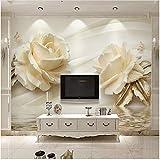 Xbwy Europäischen Stil Einfache 3D Stereo Relief Weiße Rose Fototapete Wohnzimmer Schlafzimmer Romantische Wohnkultur-350X250Cm