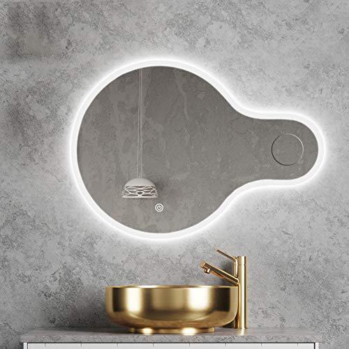 35 * 24 Pulgadas Espejo de baño Iluminación LED Montado en la Pared Espejo de vanidad con luz - Anti Niebla Luz de Fondo - Moderno sin Marco - Botón táctil - 3X Lupa
