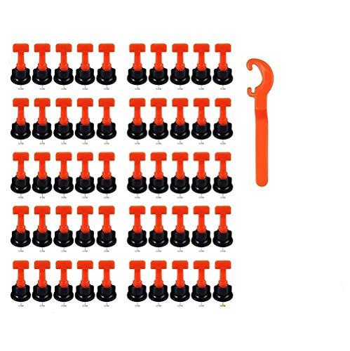 Fliesen Nivelliersystem Kit, 50Stück 100Stück 200Stück wiederverwendbare Fliesen Spacer für Fliesenausgleich, 1 Stück Spezialschlüssel (50ps)