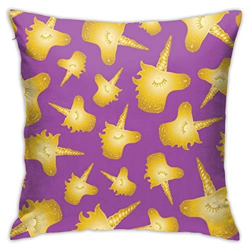 Moshow Pillowcases Cushion Covers decoration Bark Magic Golden Unicorn on the Sofa car bed 45X45 CM