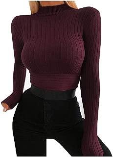 neveraway Women Fall Sexy Blouse Classic-Fit Twist Knot High Neck Top Shirt