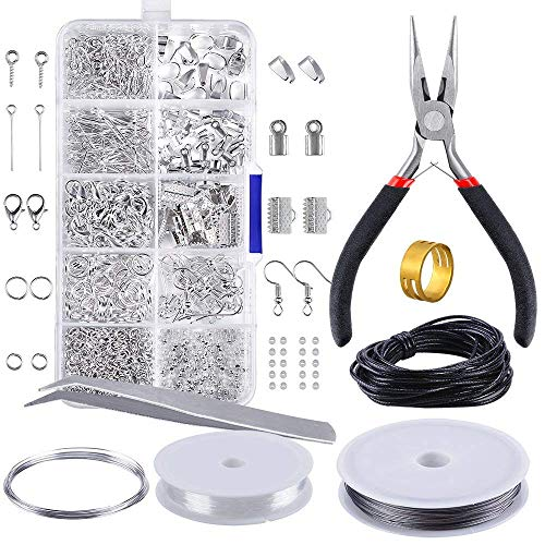 INTVN Schmuckherstellung Kit - 905 Teiliges Schmuck Reparatur Kit Anfänger Werkzeug Kit Schmuck Zubehör Anfänger Werkzeug Kit Enthält Zange, Pinzette, Silber Zubehör und Draht