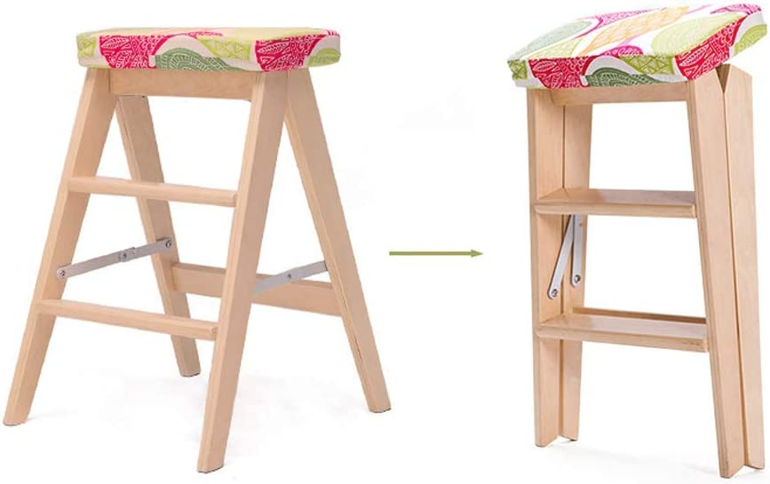 DGHJK Tabouret Pliant en Bois Massif Créatif Simple Échelle Pliante Cuisine Portable Chaise Pliante Maison Banc Beau Et Stable Bébé Sangles, Linge Green