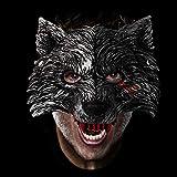 Mascara de Lobo, Máscara Halloween, Careta Lobo, Careta De Hombre Lobo para Cosplay Halloween Mascarada, Gris Oscuro, 25 x 21 cm