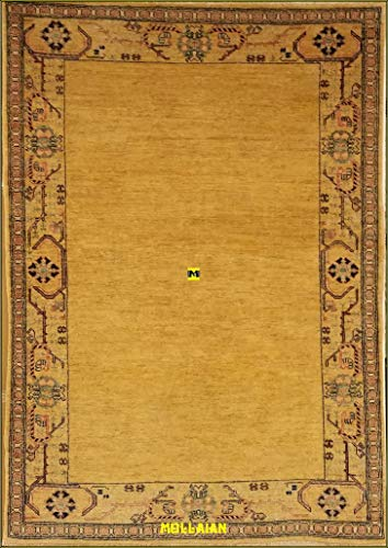 Mollaian Alfombra zagros talish Ext. Gold 155X 127, Original Alfombra Afgano Moderno Colores Vegetales Doble Nudo,2años garantía