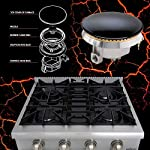 Thor Kitchen Pro-Style Gas Rangetop with 6 Sealed Burners 36 - Inch, Stainless Steel HRT3618U 13 Cooktop:3 single burner x 18,000BTU,3 dual burner x 15,000BTU, 18,000BTU stainless steel griddle Black Porcelain Drip Pan easy cleaning 3 x Heavy Duty Flat Cast-iron Cooking Grates
