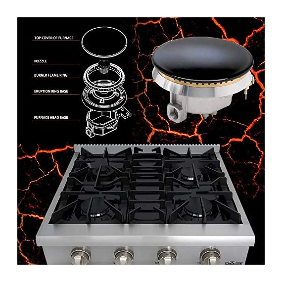 Thor Kitchen Pro-Style Gas Rangetop with 6 Sealed Burners 36 - Inch, Stainless Steel HRT3618U 6 Cooktop:3 single burner x 18,000BTU,3 dual burner x 15,000BTU, 18,000BTU stainless steel griddle Black Porcelain Drip Pan easy cleaning 3 x Heavy Duty Flat Cast-iron Cooking Grates