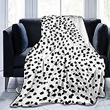 Throw Blanket, Luxury Cozy Fleece Blanket, Warm Super Soft Comfort Caring 50' x 60', Black and White Animal Print Dalmatian Spot Dots