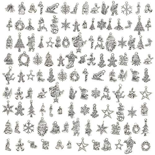 Hibery 100 Pieces Christmas Charms, Mixed Christmas Beads Charms for Jewelry Making Necklace, Bracelet