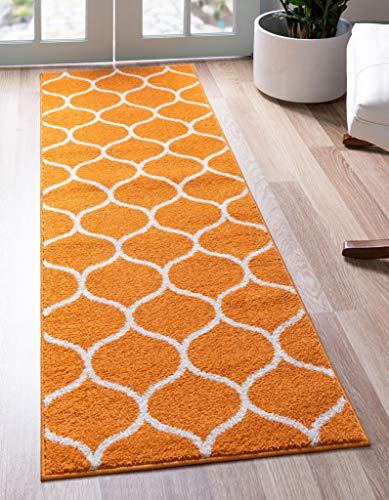 Unique Loom Trellis Frieze Collection Lattice Moroccan Geometric Modern Orange Runner Rug (2' 0 x 6' 0)