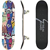 streakboard Skateboards for Beginners, Complete Skateboard 31' x 8', 7 Layer Canadian Maple Double Kick Concave Standard and Tricks Skateboards for Kids/Boys/Girls/Youth/Adults Outdoor Sports