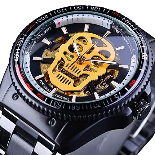 Excellent Reloj Masculino Reloj mecánico automático para Hombres Reloj de Pulsera Casual de Negocios con Correa de Acero Inoxidable Dial Redondo 3ATM 30 Metros Resistente al Agua,A01