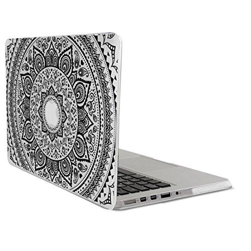 kwmobile Custodia Compatibile con Apple MacBook PRO Retina 13  (fine 2012 - metà 2016) - Cover Trasparente Protettiva per Notebook PC Sole Indiano Nero Trasparente - Protezione in Cristallo