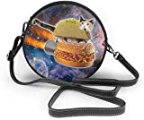 Bolso redondo mujer Women's Summer Round Bag Cat Taco Pizza In Space Fashion Crossbody Shoulder Handbag Sling Purse Sling Bag