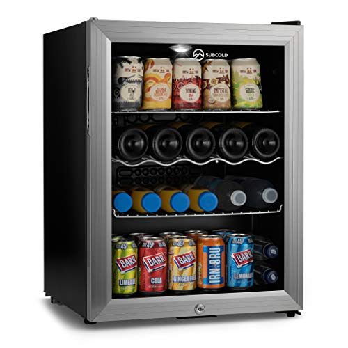 Subcold Super65 LED - Table-Top Fridge | 65L Beer, Wine and Drinks Fridge | LED Light + Lock and Key | Energy Efficient (Silver)