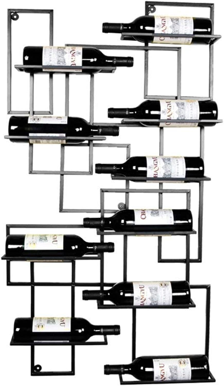 TMY Colgante de Parojo de Estante de Vino de Hierro Forjado Europeo Colgante Gabinete de Vino Estante de Vino Bar Decoración (Color   negro, Tamaño   110cm)