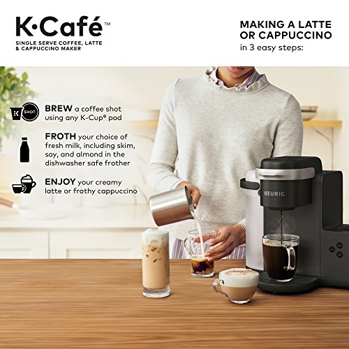 Keurig K-Cafe Single-Serve K-Cup Coffee Maker, Latte Maker and Cappuccino Maker, Comes with Dishwasher Safe Milk Frother, Coffee Shot Capability, Compatible With all Keurig K-Cup Pods, Dark Charco