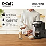 Keurig K-Cafe Coffee Maker, Single Serve K-Cup Pod Coffee, Latte and Cappuccino Maker, Comes with Dishwasher Safe Milk… 20 COFFEE, LATTES & CAPPUCCINOS: Use any K-Cup pod to brew coffee, or make delicious lattes and cappuccinos. SIMPLE BUTTON CONTROLS: Just insert any K-Cup pod and use the button controls to brew delicious coffee, or make hot or iced lattes and cappuccinos. LARGE 60oz WATER RESERVOIR: Allows you to brew 6 cups before having to refill, saving you time and simplifying your morning routine. Removable reservoir makes refilling easy.