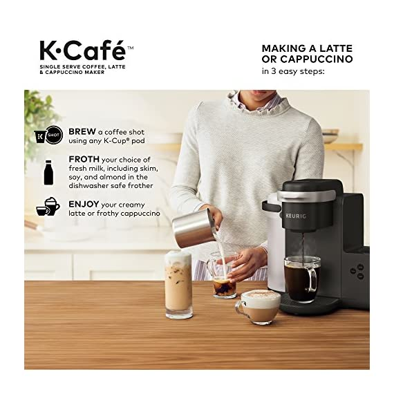 Keurig K-Cafe Coffee Maker, Single Serve K-Cup Pod Coffee, Latte and Cappuccino Maker, Comes with Dishwasher Safe Milk… 4 COFFEE, LATTES & CAPPUCCINOS: Use any K-Cup pod to brew coffee, or make delicious lattes and cappuccinos. SIMPLE BUTTON CONTROLS: Just insert any K-Cup pod and use the button controls to brew delicious coffee, or make hot or iced lattes and cappuccinos. LARGE 60oz WATER RESERVOIR: Allows you to brew 6 cups before having to refill, saving you time and simplifying your morning routine. Removable reservoir makes refilling easy.