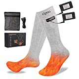 Vipoo Heated Socks, Winter Electric Rechargeable 3 Heating Settings Thermal Socks, Winter Skiing Camping Hiking Warm Cotton Socks for Men and Women - Gray…