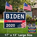 "13"" x 17"" Large Biden For President 2020 Yard Sign - Political Campaign Lawn Sign with Metal Stake - Water Resistant Outdoor Joe Biden 2020 Yard Sign with Bumper Sticker and US Flags [13in x 17in]"