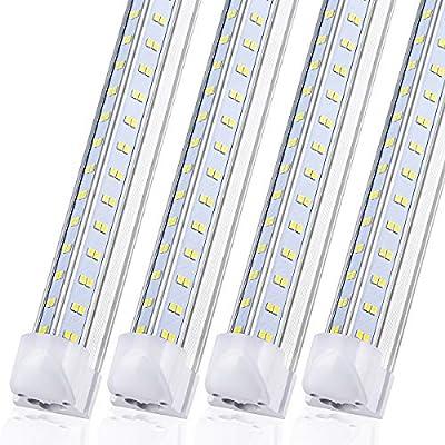 (Pack 8pcs)8FT LED Shop Light Fixture - 120W 14400LM, 5000K-5700K Daylight, T8 Integrated V Shape Fluorescent Tube Lights, High Output Bulbs for Garage Warehouse Workshop, Plug and Play