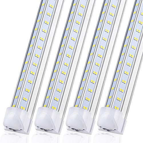 8FT LED Shop Light Fixture - 120W 14400LM, 5000K-5700K Daylight, 96'' T8 Integrated V Shape Fluorescent Tube Lights, High Output Bulbs for Garage Warehouse Workshop,Linkable Plug and Play (Pack 8pcs)